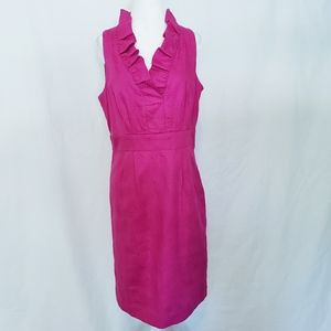 Julian Taylor Fuchsia Pink Ruffle Collar Dress